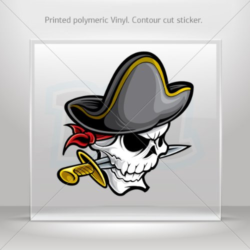 Decal Stickers Pirate Skull With Knife Hobbies Motorbike Vehicle Tablet Laptop Durableê 0500 Rs895