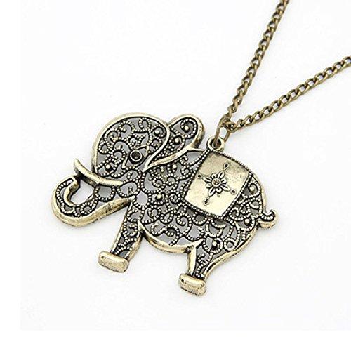 Doinshop Women Girl Pendant Jewelry Retro Bronze Elephant Chain Necklace