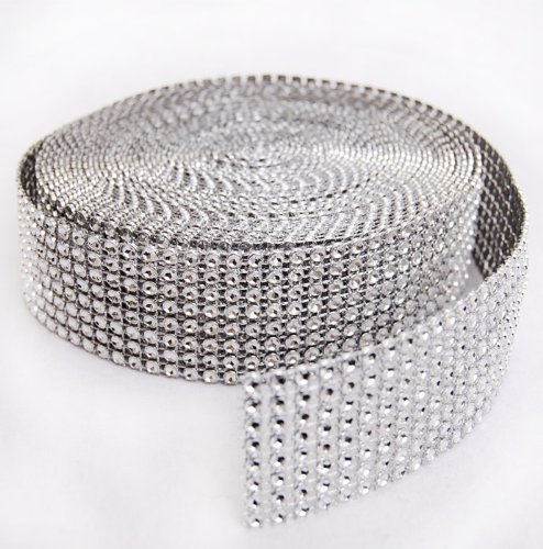 "Purchase Dashington Silver Diamond Mesh Wrap Roll Rhinestone Crystal Ribbon 1.5"" X 10 Yards"