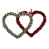 Tangerine Silver & Red Bell Heart Ornament Set Of 2 Pcs