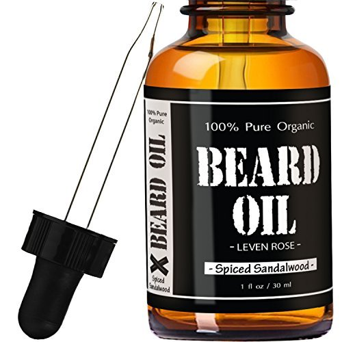 1-RATED-Spiced-Sandalwood-Scented-Beard-Oil-and-Leave-in-Conditioner-by-Leven-Rose-Best-Scented-Beard-Oil-100-Organic-Natural-for-Groomed-Beard-Growth-Mustache-Skin-for-Men-1-oz-Premium-Oils