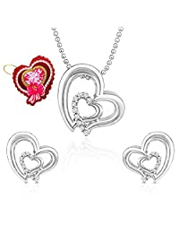 Mahi White Heart Pendant Set Made With Swarovski Elements With Heart Shaped Card For Women NL5104117RWhiCd