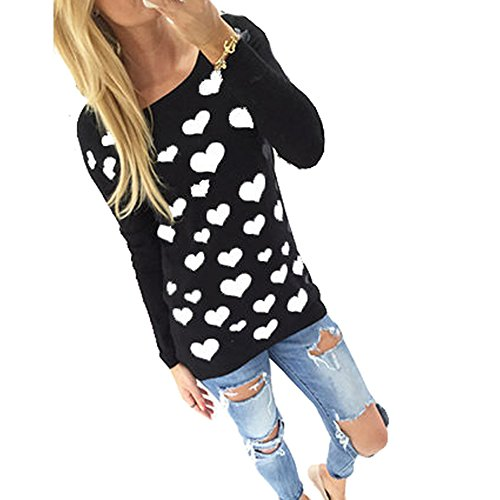 WANGSCANIS Fashion Women Crewneck Blouse Love Printed Long Sleeve T Shirt