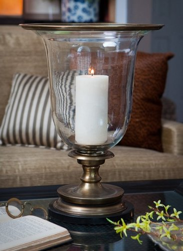 17.75 in. Hurricane Candleholder w Marble (Antique Brass)
