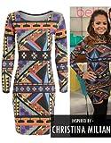 Womens Christina Milian Tribal Aztec Print Bodycon Dress Ladies