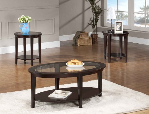 Glass Living Room Table Set: Beverly Furniture Oval Modern Glass 3-Piece Coffee Table