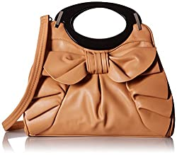 MG Collection Dacia Bowknot Ruffle Satchel Handbag, Apricot, One Size