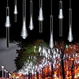 Sunvito 50CM 8 Tubes 240 LED Meteor Shower Rain Lights Waterproof String for Wedding Party Christmas Xmas Decoration Tree (50CM, White)