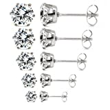 5 Pair Mixed Size Wholesale Lot Cz Crystal Stainless Steel Earrings Studs. Nickel-free. Lead-free.