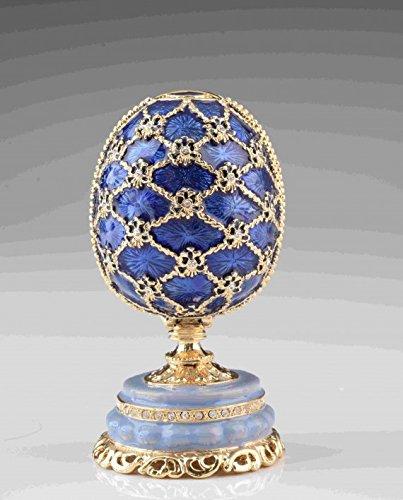 Blue-Faberge-Egg-by-Keren-Kopal-Home-Decor-Collectors-Box-Russian-Egg