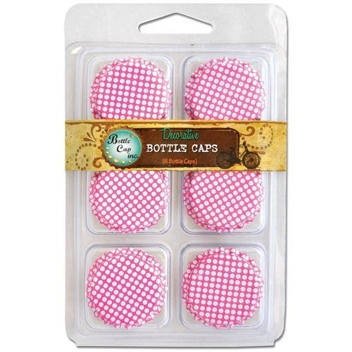 "Vintage Collection Double Sided Bottle Caps 1"" 6/Pkg-Polka Dot Hot Pink W/White"