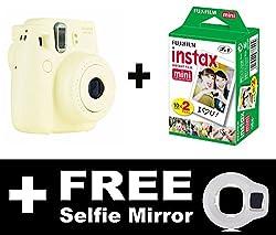 Fujifilm Instax Mini 8 Camera with 20 Shots + FREE Selfie Mirror (White)
