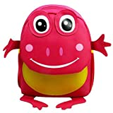Your Gallery Babys Cute 3D Frog Little Backpack Plush Bag For Toddlers Kids, Red