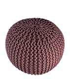 """Pouf Ottoman Brown Round Hand Knitted Cable Style Cotton Dori ottoman Braided Rope Floor Ottomans Kids Comfortable Seat Footstool Brown 16''x 20"""" By MystiqueDecors"""