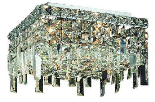 Elegant Lighting 2033F14C/RC Maxim 7-Inch High 5-Light Flush Mount, Chrome Finish with Crystal (Clear) Royal Cut RC Crystal