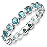 1.53ct ComPassionate Silver Stackable Blue Topaz Band. Sizes 5-10 Available