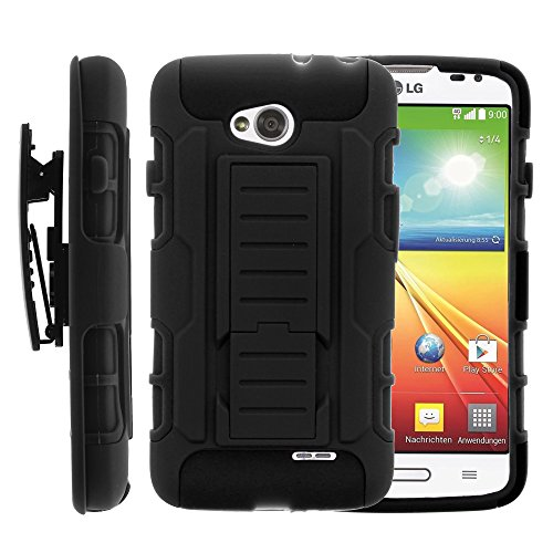 LG Ultimate 2 Case, LG Ultimate 2 Holster, High Impact Advanced Double Layered Hard Cover with Built in Kickstand and Belt Clip for LG Optimus L70 MS323, LG Optimus Exceed 2 VS450PP, LG Realm LS620, LG Ultimate 2 L41C (Metro PCS, Verizon, Boost Mobile) from MINITURTLE | Includes Screen Protector - Black (Lg Ultimate 2 Cases compare prices)