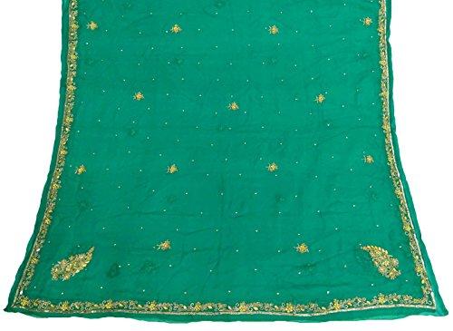 indische-weinlese-dupatta-lange-stola-chiffon-silk-grune-hand-wulstige-schals-hijab