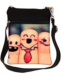 Snoogg Beautiful Finger Painting Cross Body Tote Bag / Shoulder Sling Carry Bag