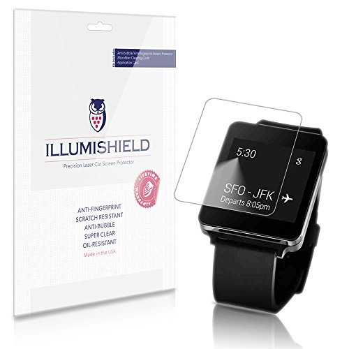 Illumishield - Lg G Watch Screen Protector Japanese Ultra Clear Hd Film With Anti-Bubble And Anti-Fingerprint - High Quality (Invisible) Lcd Shield - Lifetime Replacement Warranty - [3-Pack] Oem / Retail Packaging