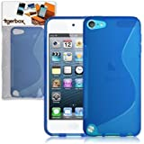 Tigerbox S-Line Hydro Gel Skin Case Cover For Apple iPod Touch 5 5th Generation With Screen Protector (Blue)