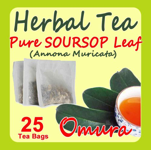 Omura Natural Soursop Leaves Tea, Pure Soursop Graviola Leaves, (25 Teabags) Green