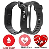 Smart Band Watchband Smartband Smartwatch Watch Heart Rate Blood Oxygen Pressure Monitor Pedometer Fitness Activity Tracker WristBand For IOS Android iPhone (Black)