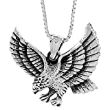 Sterling Silver Pouncing Eagle Pendant, 1 inch wide