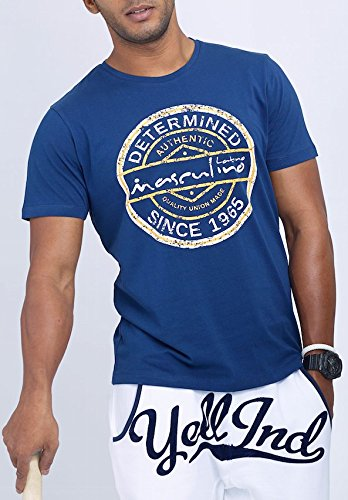 Masculino Latino Casual Blue T-shirts Round Neck for Men MLT1005A-L