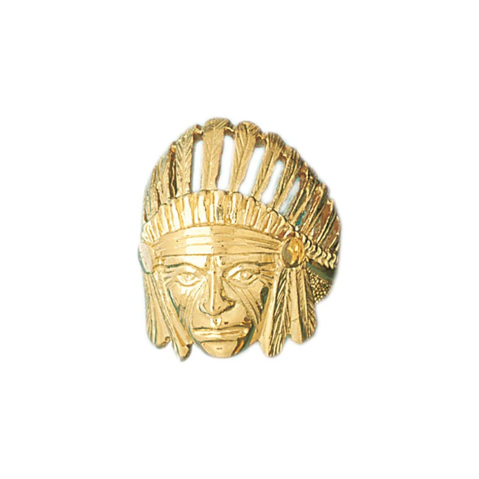 14kt Yellow Gold Indian Head Mens Ring Jewelry