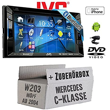 Mercedes C-Klasse W203 MoPf - JVC KW-V220BTE - CD DVD Bluetooth MP3 USB Autoradio - Einbauset