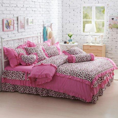 Pink Leopard Print Bedding front-321407