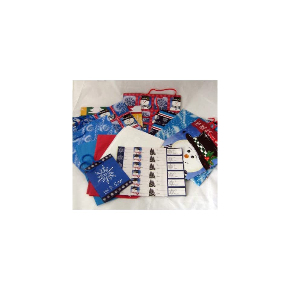 Holiday Gift Bags Tags Tissue Paper & Flat Gift Wrap Set