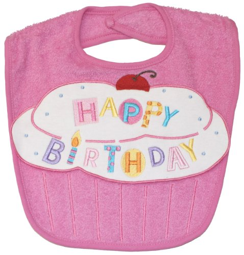 """Happy Birthday"" Bib (pink), Frenchie Mini Couture"