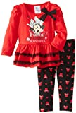 Disney Baby-Girls Infant Minnie Mouse 2 Piece Bowtiful Long Sleeve Legging Set