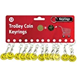 12 (Dozen) x Smiley Face £1 Trolley Coin Trolley Keyring for Shopping, Locker etc.