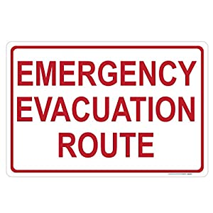 Emergency Evacuation Route Sign, Includes Holes, 3M Quality, Laminated-Durable-Aluminum 14