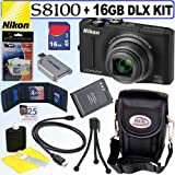 Nikon Coolpix S8100 12.1 MP CMOS Digital Camera (Black) + 16GB Deluxe Accessory Kit
