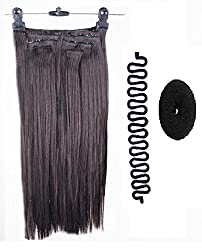 Kabello Imported Quality 6 pcs Straight Hair Extensions (Free 1 Braids Tools + 1 Hair Donut) (Dark Brown)