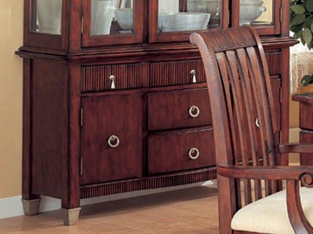 Cheap Server Sideboard with Carved Accents Brown Cherry Finish (VF_100574B2)