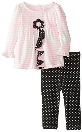 Kids Headquarters Baby-Girls Infant 2 Pieces Stripes Tunic With Polka Dots Leggings, Pink, 18 Months front-711800