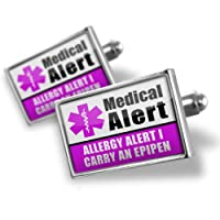 "Neonblond Cufflinks Medical Alert Purple ""Allergy Alert 1 Carry an Epipen"" - cuff links for man by NEONBLOND Jewelry & Accessories"