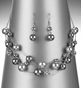 Faux Pearl Diamanté Necklace