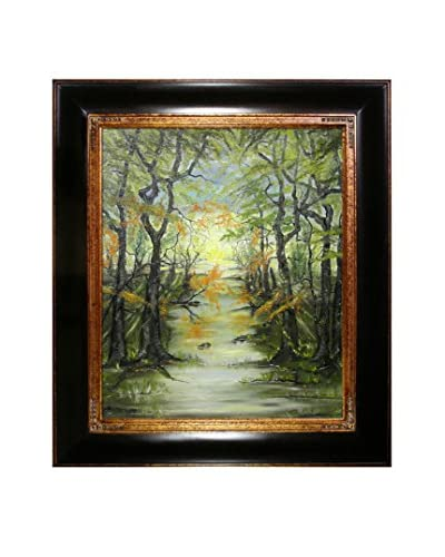 Susan Art Creek In The Forest Framed Canvas Print