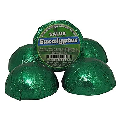 SALUS EUCALYPTUS 5 PACK SHOWER BOMBS ? NATURAL Shower Aroma Fizzy ? Handcrafted in the USA