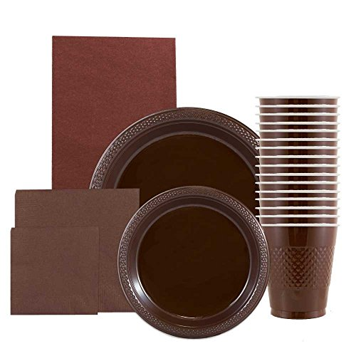 JAM Paper Party Supply Assortment Pack - Chocolate Brown - Plates (2 Sizes), Napkins (2 Sizes), Cups (1 pack) & Tablecloth (1 pack) - 6/pack
