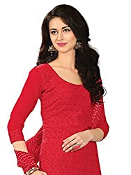 Parisha Latest Red Embroidered Dress Material