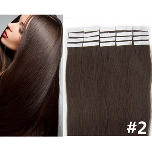 "A.H Tape In Hair Extensions 100% Remy Human Hair Extensions 18""-24"" 40Pcs/Pack 88G Straight Dark Brown #2"