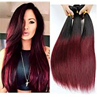 SpringHair 100% 3 Bundle Brazilian Virgin Remy Human Hair Weaves Extension Ombre Black Red Silky Straight Weft 300g 12 14 16Inch