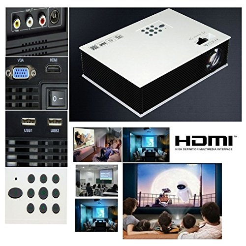Mini Shop Hd Multimedia Led Lcd Portable Full Hd Projector Hdmi Av Vga Port Usb - White 50'~120'Mini1500Lm Led Projector Cinema Theater, Support Pc Laptop Vga Input And Hdmi+Sd + Usb + Av Input For School Classrooms, Home Entertainment, Home Schooling, Sp